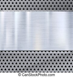 Metal plate over grate texture, stainless steel metal with...