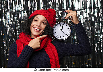 Closeup portrait of happy winter woman - New Year eve...