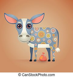 Cute Cartoon Donkey with a Decorative Ornament on his Body....