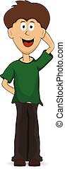 cartoon Smiling shy guy - cartoon shy guy smiling standing...