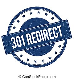 301 REDIRECT stamp sign text word logo blue.