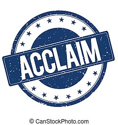 ACCLAIM stamp sign text word logo blue.