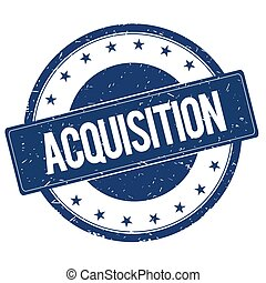 ACQUISITION stamp sign text word logo blue.