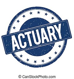 ACTUARY stamp sign text word logo blue.
