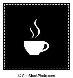 Cup of coffee sign. Black patch on white background. Isolated.