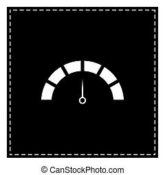 Speedometer sign illustration. Black patch on white background.