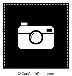 Digital photo camera sign. Black patch on white background....