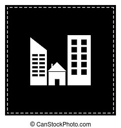 Real estate sign. Black patch on white background. Isolated.