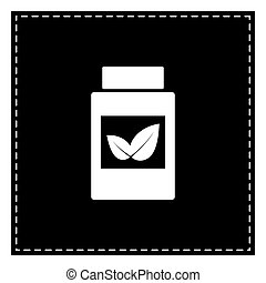 Supplements container sign. Black patch on white background. Iso
