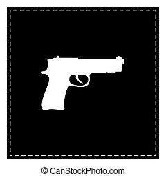Ilustración, aislado, arma de fuego, remiendo, Plano de...