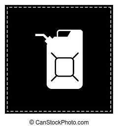 Jerrycan oil sign. Jerry can oil sign. Black patch on white...
