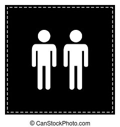 Gay family sign. Black patch on white background. Isolated.
