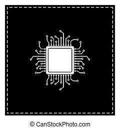 CPU Microprocessor illustration. Black patch on white...
