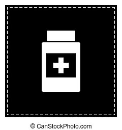 Medical container sign. Black patch on white background. Isolate