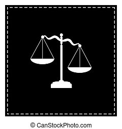 Scales of Justice sign. Black patch on white background. Isolate