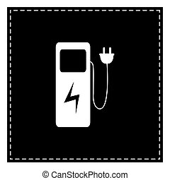 Electric car charging station sign. Black patch on white...