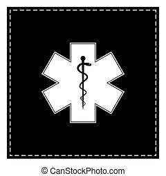 Medical symbol of the Emergency or Star of Life. Black patch on