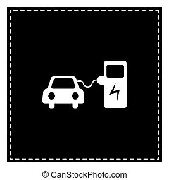 Electric car battery charging sign. Black patch on white backgro