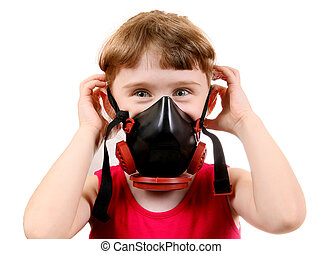 Small Girl in Gas Mask - Cheerful Small Girl in in Gas Mask...