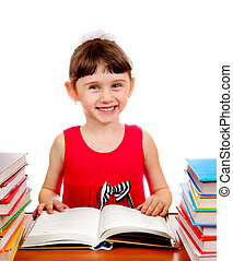 Small Girl with a Books - Cheerful Small Girl with the Books...