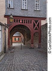 Old former city gate in Frankfurt Hoechst