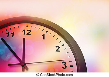 Clock face on color background
