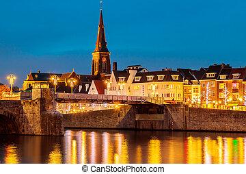 View at the Dutch Sint Servaas bridge in Maastricht - View...