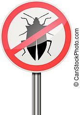 RoadSign Pest Control - detailed illustration of a red...