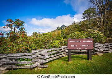 Sign and view of Grandfather Mountain, at Grandfather...