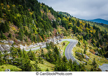 View of the road to Grandfather Mountain, at Grandfather...
