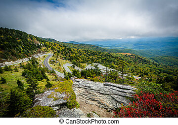 View of the Blue Ridge Mountains and road to Grandfather...