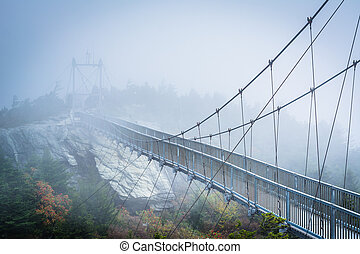 The Mile High Swinging Bridge in fog, at Grandfather...