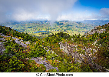 View of the rugged landscape of Grandfather Mountain, near...