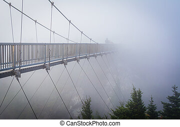 The Mile High Swinging Bridge in fog, at Grandfather...