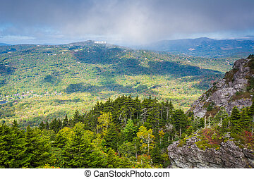 View of the Blue Ridge Mountains from Grandfather Mountain,...