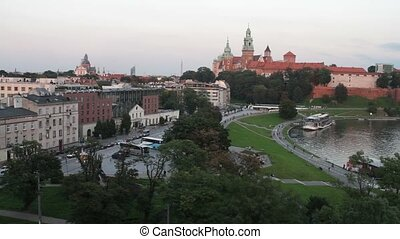 Skyline of the old european city with landmarks - Cityscape...