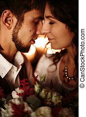 Loving couple portrait close-up