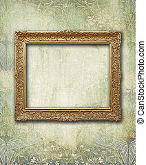 Grunge floral faded wallpaper with golden antique empty frame