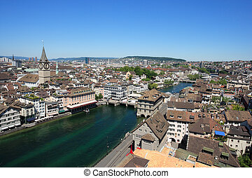 Cityscape of Zurich Switzerland - Cityscape of Zurich,...