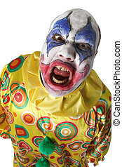 Creepy clown - A nasty evil clown, angry and looking mean....