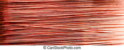 Macro , detail of a copper inductor in a transformer. -...