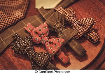 Custom made bow tie and necktie in tailor studio.