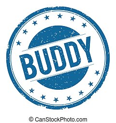 BUDDY stamp sign text word logo blue.