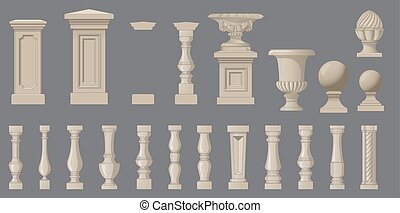 Set of random style balusters with stands - Set of random...