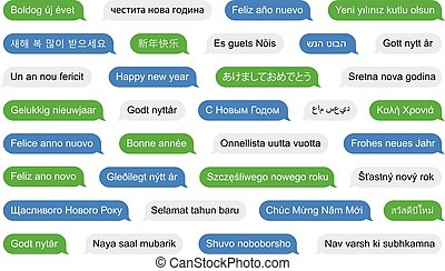 Happy new year in different languages on SMS bubbles - Happy...