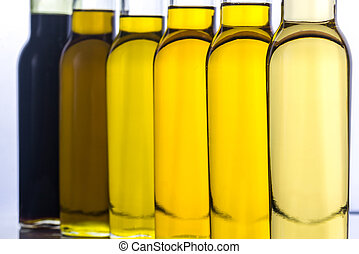 Bottles with different kinds of vegetable oil