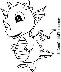 Illustration of Cute Cartoon Baby Dragon.
