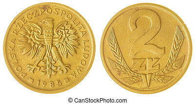 2 zloty 1985 coin isolated on white background, Poland -...