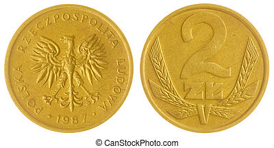 2 zloty 1987 coin isolated on white background, Poland -...