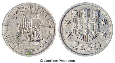 2.5 escudos 1978 coin isolated on white background, Portugal...